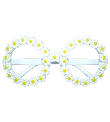Blumen Brille Daisy - Ideal zum Hippie oder Gärtner Kostüm für Junggesellenabschied, Karneval oder die Mottoparty