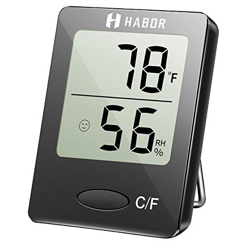 Habor Igrometro Termometro Digitale Termoigrometro LCD con l'Icona di comforto Termometro Ambiente Interni Rilevatore di umidità per Ambienti Misura Temperatura & umidità per Serra, Stanza, Casa