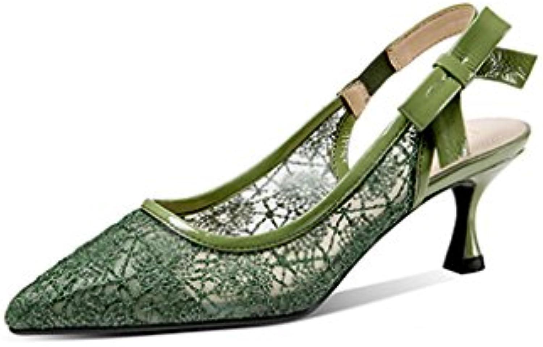 JIANXIN Sandalias Baotou Gato Verano Femenino con 5cm con Gasa De Malla Zapatos Huecos Pajarita con Zapatos De...