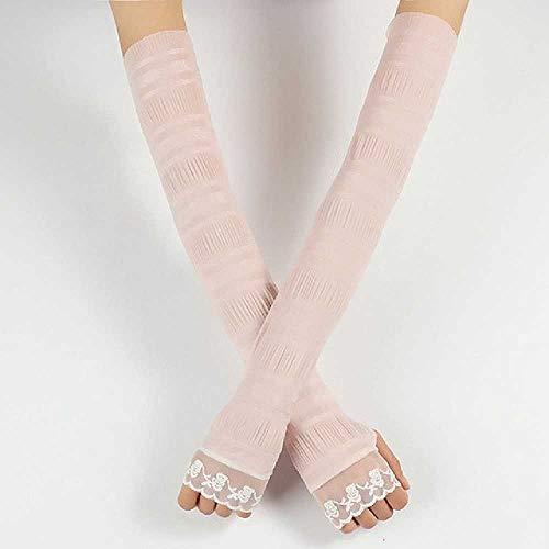 Pink Lace Fingerlose Handschuhe - DUNDUNGUOJI Sun Protection Cuff Women's Lace