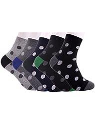 5 de pares de formas de punto de cuero de los hombres de tamaño de calcetines antideslizantes con separación de para coser un vestido calcetines antideslizantes con separación de 10-13 color negro y color negro y gris de lunares negros sobre fondo LR9029