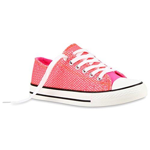 Damen Sneakers Low Glitzer Canvas Schuhe Schnürer Coral