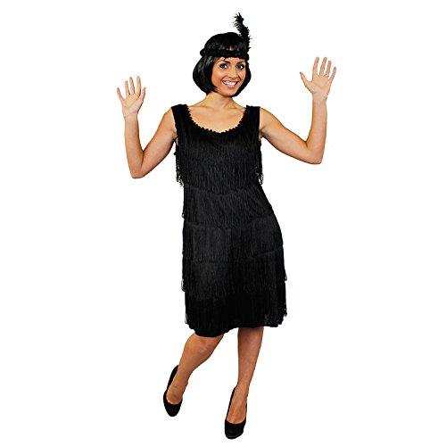 ILOVEFANCYDRESS I love Fancy Dress ilfd4610m Deluxe Damen 1920er FLAPPER Kleid mit passendem Kopfschmuck (mittel) (1920er Charleston Schwarz Flapper Fancy Dress Kostüm)
