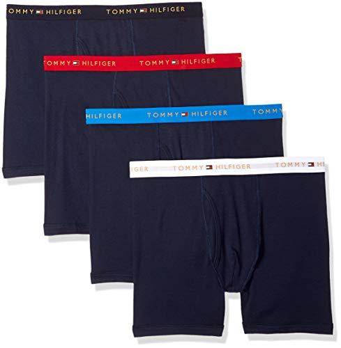 Classic 3 Pack Boxer Brief (Tommy Hilfiger Men's Underwear 3 Pack Cotton Classics Boxer Briefs, Blue Graphite, L)