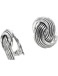 Schmuckanthony Trendige Ohrclips Clips Clip On Ohrringe Silber Knoten Design 2,5 x 1,8 cm