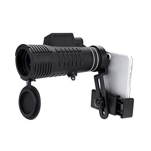 50x60 Telescopio Monocular, Alta Potencia Alcance Monocular Observación de Aves Caza HD Telescopio Monocular de un Solo Tubo Alcance con Trípode Clip para Teléfono Móvil Acampar Viajar
