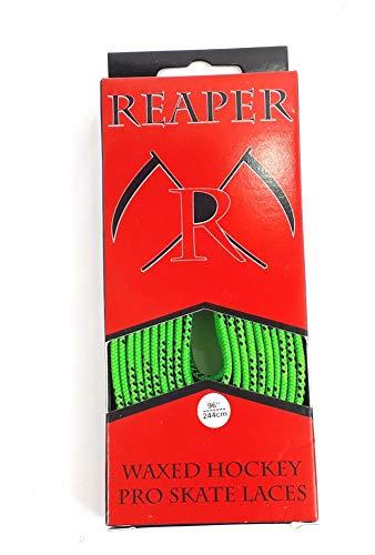 Reaper Schnürsenkel Eishockey gewachst, Schuhbänder Hockey 84-120 Zoll (neon grün, 108 Zoll (274cm))