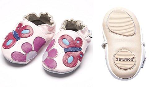 Jinwood - garden pink - mini shoes - Schmetterling & Blume - Hausschuhe - Lederpuschen - Krabbelschuhe - by amsomo Rosa