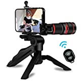 ENEM 20x Monocular Zoom Wide Angle HD Telephoto Phone Camera Lens for Mobile - No Black Corner Universal Optical Zoom – with Clip, Tripod and Remote Shutter – Black