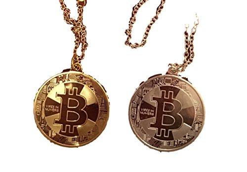 2er Set Bitcoin HALSKETTE BTC Physische Münzen - Angreifbare Deko Münze - Gold oder Silber Münze - AUSWÄHLBAR - Krypto Münzen - Bitcoin Fan Zubehör - Halskette-Anhänger - 40cm LÄNGE (2x Gold)