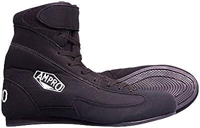 Ampro Londres mid-top botas de boxeo-negro/boxeo/boxeo/Amateur/profesional/competencia/libre bolsa de cuerda