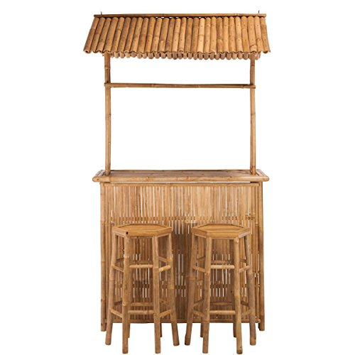 BUTLERS Sundowner Bar mit 2 Hockern 120x55x230 cm - Bambus-Bar mit überdachtem Tisch und Stühlen - Bartisch Set aus Holz