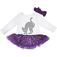 Halloween Dress strass gatto bianco, S/L Jumpsuit Viola Sequin Tutu Baby nb-18m