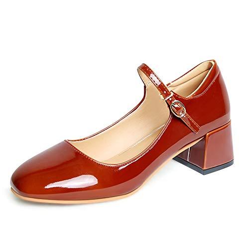 Zapatillas de mujer PADGENE con tacón medio y hebilla redonda y punta redonda Zapatillas vintage