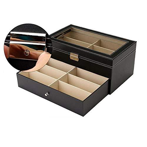 Wand-8-CC Doppelschichtige Sonnenbrillen-Displaykasten, Aufbewahrungsbox aus Metall, für Uhr, Schmuck, etc. Schnalle, Schwarz