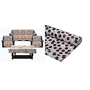 Kuber Industries Flower Cotton 7 Piece 5 Seater Sofa Cover with Center Table Cover (Brown)-CTKTC28730 & PVC Wardrobe Kitchen Drawer Shelf Mat 10 Mtr Roll (Brown), CTKTC013558 Combo