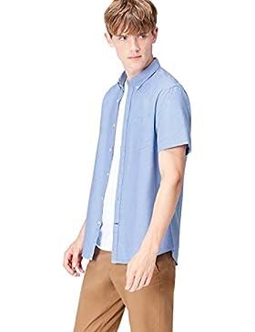 FIND Camicia in Cotone a Manica Corta Slim Fit Uomo