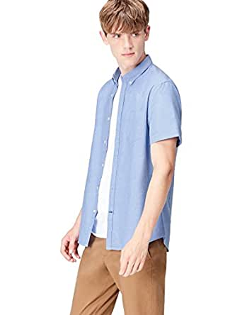 FIND Men's Shirt in Slim Fit Pure Cotton and Button Down, Blue (Mid Blue), Small