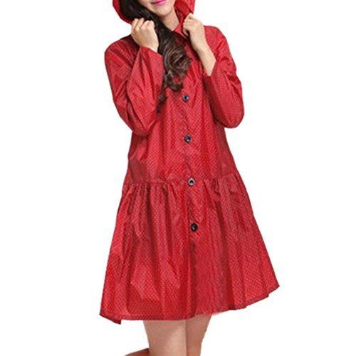 Preisvergleich Produktbild Maovii Damen Outdoor Funktions Langform Wasserdichte Parka Regenmantel Regenbekleidung Sport Jacke Mit Punkt Rot (Rot)