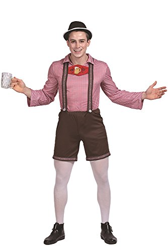 isch Plaid Oktoberfest Kostüm T-Shirt und Hosen Lederhose Cosplay Halloween Performance Kleidung, Mehrfarbig, EU S=Tag M ()