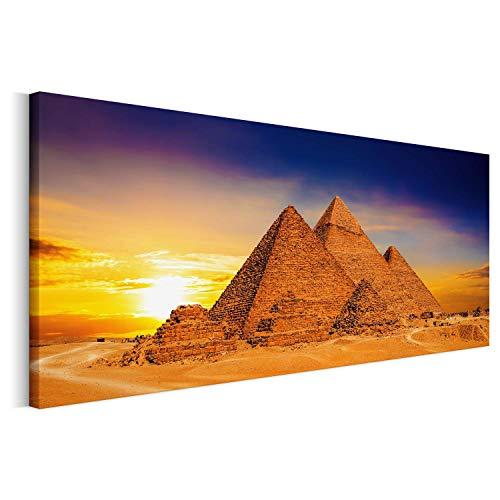 Revolio - Panorama Bilder - Leinwandbild - Wandbilder - Kunstdruck - Design - Leinwandbilder auf Keilrahmen 1 Teilig - Wanddekoration - Größe: 90x30 cm - Pyramiden Abend orange -