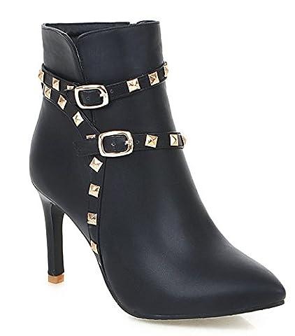 YE Damen High Heel Stiletto Stiefeletten mit Spitze und Schnallen Reißverschluss Nieten Elegant 9cm Absatz Short Ankle Boots Herbst Winter Schuhe