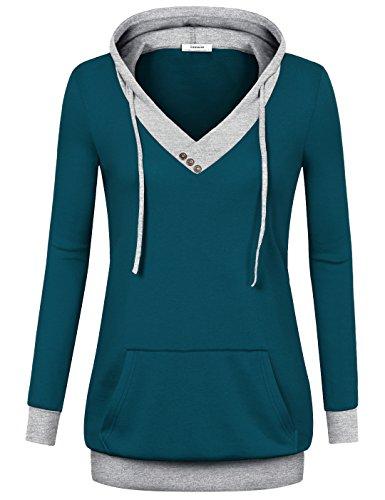 Freizeit Sweatshirt, Youtalia Damen Langarm Cross V Ausschnitt Pullover Känguruh Tasche Chic Sweatshirt(Größe S,Dunkel-Türkis)