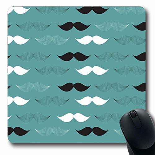 Luancrop Mousepads Weinlese-Bart-Schnurrbart-Zusammenfassungs-Schwarz-einfaches Charakter-klassisches Kostüm-Tagesentwurfs-rutschfeste Spiel-Mausunterlage Gummi-längliche - Charakter Kostüm Einfach
