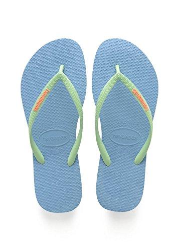 Havaianas Damen Slim Logo Zehentrenner, Blau (Blue Splash), 39/40 EU (37/38 BR) - Havaianas Brasilien