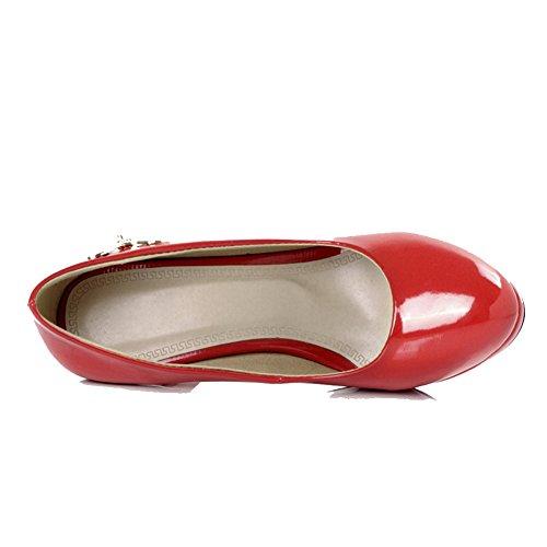 AllhqFashion Femme Tire Rond Stylet Pu Cuir Couleur Unie Chaussures Légeres Rouge