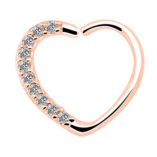 16 calibro 18 kt oro bianco placcato cz chiaro cuore chiusura destra daith cartilage tragus orecchini hoop heart earrings (rose gold clear)