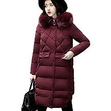 Abrigo de Outerwear Acolchado Algodón Invierno Para Mujer Largas Chaqueta de Esquí Parka Sombrero peludo Vino tinto XS