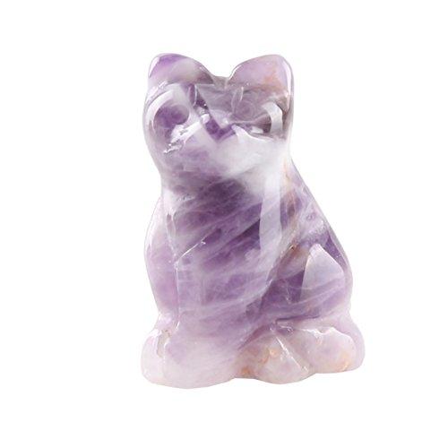 Coco Said - Figura Decorativa de Gato Tallada con Cristales curativos y Piedras Preciosas, Amatista