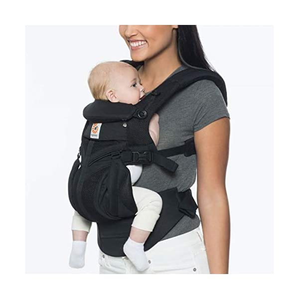 Ergobaby Baby Carrier for Newborn to Toddler, Ergonomic 4-Position Omni 360 Mesh Onyx, Baby Carrier Front Back Front Facing, Backpack Ergobaby Baby carrier with 4 ergonomic wearing positions: parent facing, on the back, on the hip and on the front facing outwards. four ergonomic carry positions and easy to use. Adapts to baby's growth: infant baby carrier new-born to toddler (7-33 lbs./ 3.2 to 20 kg), no infant insert needed Breathable 3d air mesh material ensures the optimal temperature of the baby. includes removable belt pouch. 2