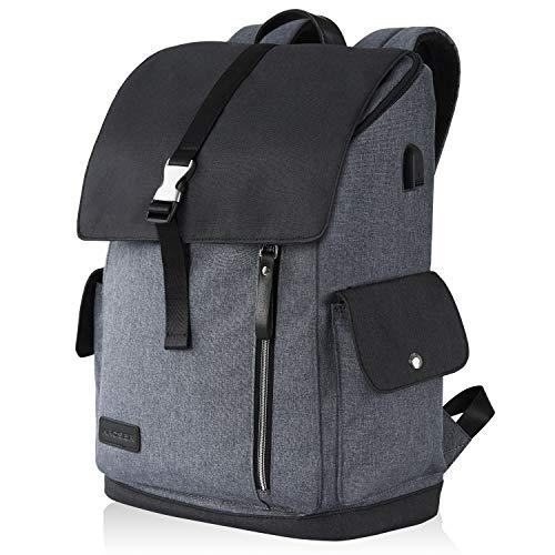 KROSER Laptop Rucksack 17,3 Zoll Sicherer Rucksack Schultasche Tagesrucksack Wasserabweisend Große Laptop Gepäck Tablet mit USB-Ladeanschluss für College/Reisen/Frauen/Männer-Schwarzgrau MEHRWEG