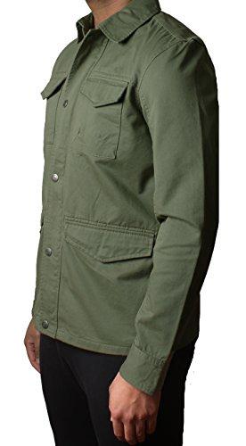 Herren Threadbare Designer Militär Köper Übersehen Jacke HARTFORD BANG PLAIN DMW018 Khaki