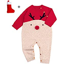QUICKLYLY Peleles Navidad Bebé Niño Niña Crochet Punto Recién Infantil Largo Manga Mono Ropa (Rojo, 0~6 Mes(70))…