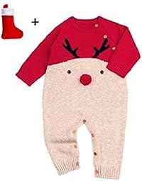 QUICKLYLY Peleles Navidad Bebé Niño Niña Crochet Punto Recién Infantil Largo Manga Mono Ropa