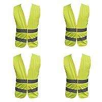 Family Motoring & Leisure 4 Pack Adult Yellow Hi Vest High Vis Hi Viz Visibility Vest Waistcoat Safety Security