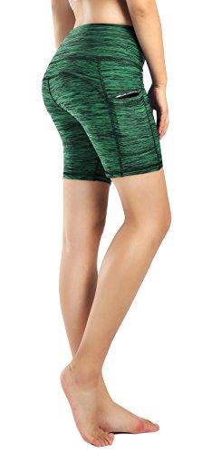 Munvot Damen Laufhose Sporthose Sport Leggings Tights-Grün (Kurz Hose)-XL -