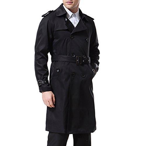 AOWOFS Herren Trenchcoat Lang Zweireihiger Slim Fit Mantel im Militärischen Stil Trench Coat mit Gürtel - 3