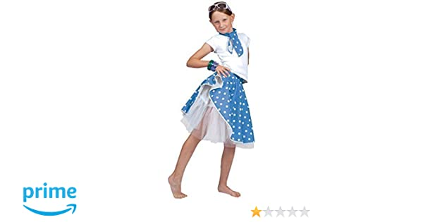 65da812f2b Girls 50's Blue Rock and Roll Skirt & Scarf Soda Hop Rockabilly Polka Dot  Party Carnival Fancy Dress Costume Outfit (Blue): Amazon.co.uk: Toys & Games