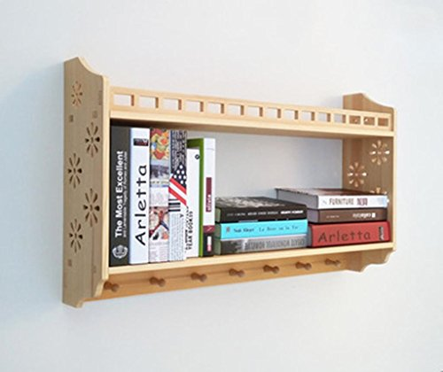 Marcus R Caveggf Wandregal Bücherregal Bücherregal Wohnzimmer Holz Schränke Regale Haken Schlafzimmer Wand Holz Kleiderbügel, 48 * 18 * 80 cm - 48-wand-regal