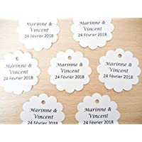 Lot 20 étiquettes papier forme rond festonné 7 coloris papier au choix écriture Lucida