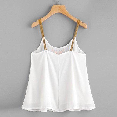 OverDose Trägershirts Flower Bestickte Strappy Cami Top Bluse tops Vest Weste Pulli G-Weiß
