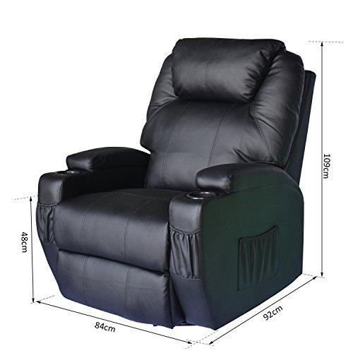 homcom massagesessel fernsehsessel mit heizfunktion und massagefunktion schwarz. Black Bedroom Furniture Sets. Home Design Ideas