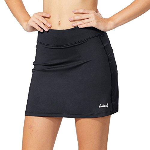 Baleaf Damen Skort Sport Hosenrock mit Tasche für Laufen Tennis Golf Schwarz M