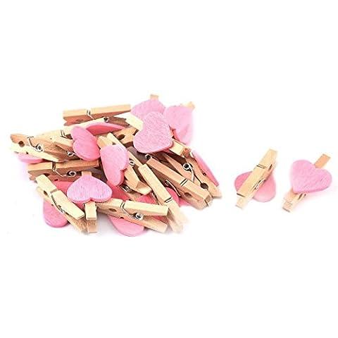 KRAFTZ® - Mini Love Heart Shape Wooden Clips Message Photo Holder Album Card Paper Pegs Decor Photography - Pink 20 Pcs
