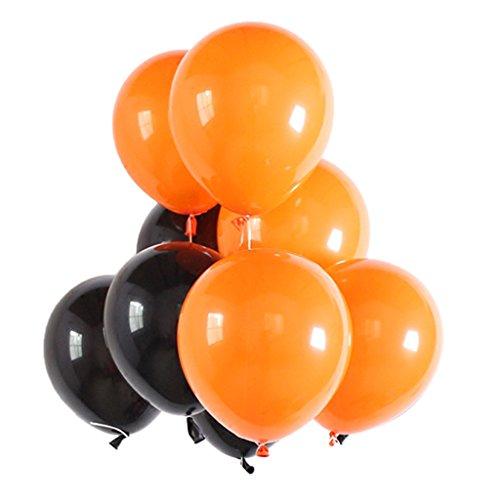 SM SunniMix 40pcs Latex Ballon Luftballon Dekoballon für Hochzeit Taufe und Geburtstag, ca. 9-10 Zoll - Schwarz \u0026 Orange