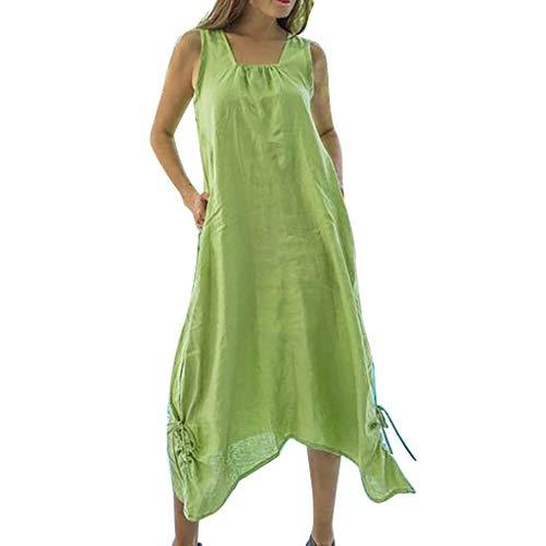 Laile Damen Sommerkleid Einfacdress Unifarbe Strandkleid ärmelloses Lang Kleider Reizvolles Beiläufig Trägerkleid Lose U-Ausschnitt Abendkleid Nationaler Stil Riemchen Feierliche Kleider